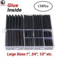 "138 Uds 31 kit de tubos termocontraíbles adhesivos de doble pared Sizes1 ""3/4"" 1/2 ""manguito de Cable Tubo negro manguito de Cable de coche"