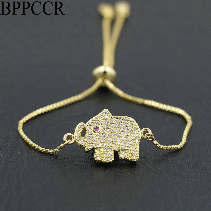 Bppccr pave micro strass zircão aaa elefante fina corrente pulseira homens mulheres bonito casais sorte mujer hombre pulseira presentes
