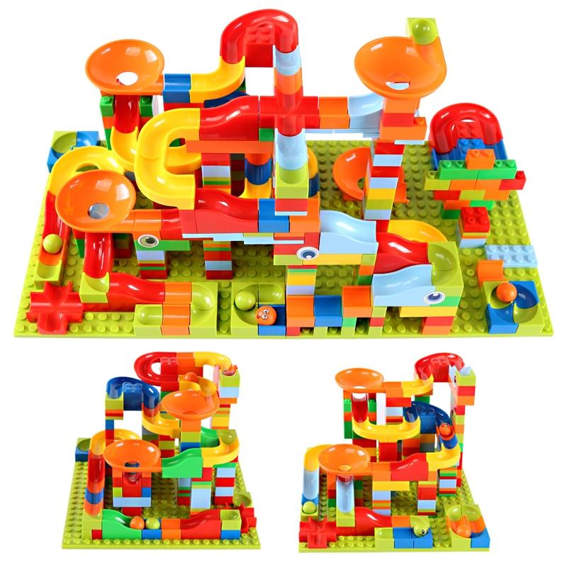165-330 uds, bloques urbanos de carrera de mármol de tamaño pequeño, pista de bloques de construcción, embudo de ABS, tobogán para ensamblar ladrillos, juguetes para niños