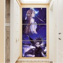 Drucke Leinwand Malerei Home Dekoration 3 Panel Schwert Art Online SAO Yuuki Asuna Und Kirito Wand Kunstwerk Modulare Bilder Poster