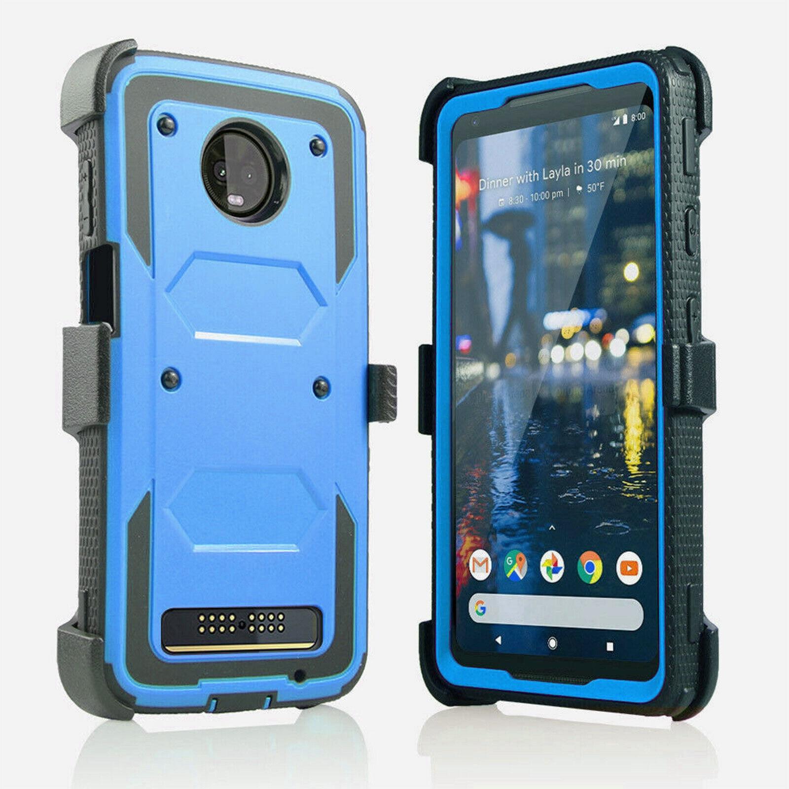 For Motorola Moto Z4 Play Heavy Duty Hybrid Armor Case Shockproof Impact Protective Belt Clip Holster Kickstand Cover Moto