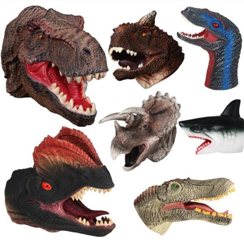 Souple vinyle caoutchouc Animal tête main marionnette dinosaure main marionnette nouveauté Figure jouets gants pour enfants modèle cadeau