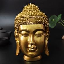 Golden Buddha Head Statue Wall Decorations Sakyamuni Tathagata Buddha Sculpture Resin Crafts Ornament Home Décor Statues