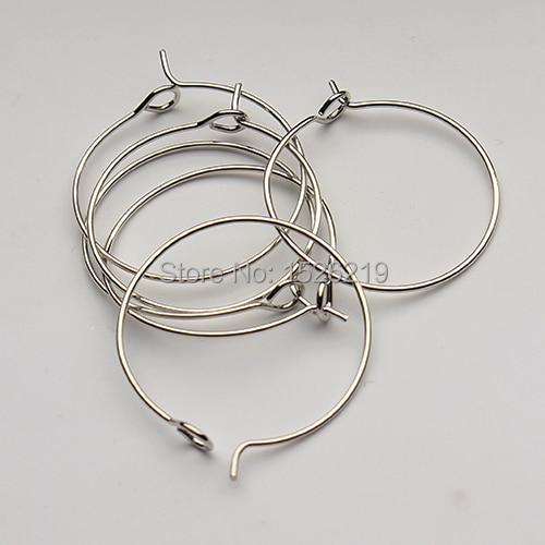 100 unids/lote gancho de alambre de oreja de oro/plata/rodio 30mm de diámetro para pendientes de bricolaje joyería F2399