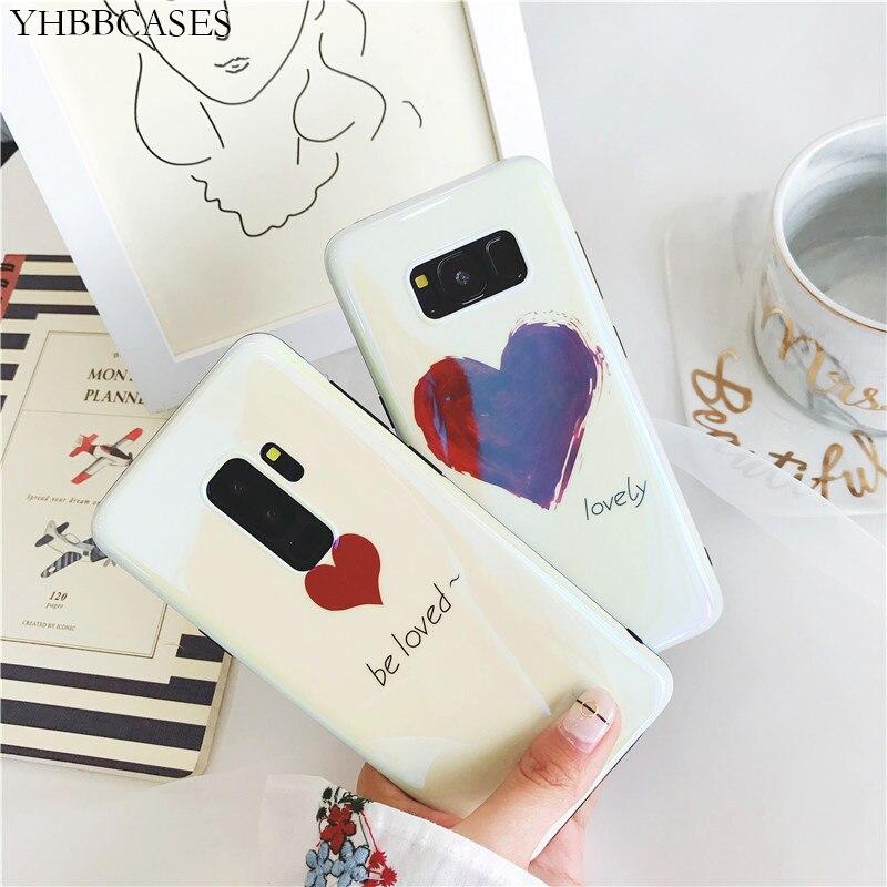 YHBBCASES, fundas de teléfono de moda con bonito amor rojo para Samsung Galaxy S10Plus S8 S9 Plus Note 8 Note 9 Blu-ray, fundas blandas de corazones de dibujos animados
