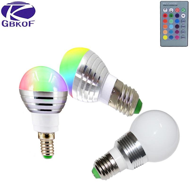 1 шт. 5 Вт 7 Вт RGB декоративный светодиодный светильник E27 E14 AC 110 в 120 в 220 В светодиодный светильник с 24 клавишами пульверизатор 16 цветов Изменен...
