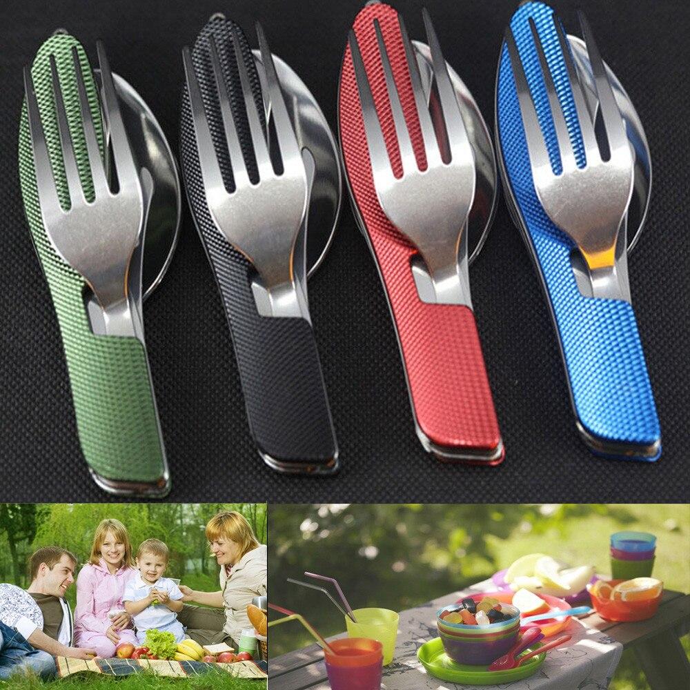 Vajilla 3 en 1 para exteriores (tenedor/cuchara/cuchillo), Kits de bolsillo plegable de acero inoxidable para Camping, para senderismo, supervivencia, viaje 0824