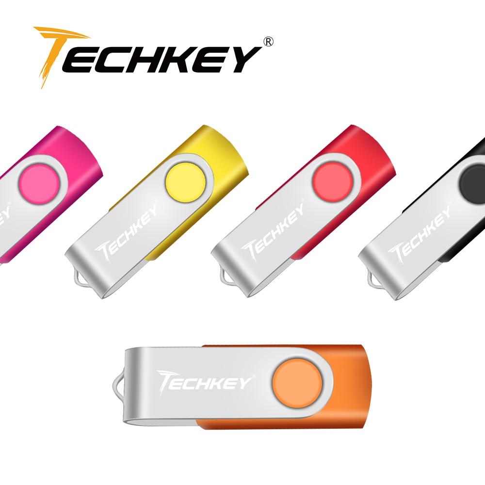 USB Flash Drive 128GB TECHKEY pendrive pen drive 32GB 64GB memoria 8GB 4GB micro cel memoria usb lápiz de memoria de regalo de disco u