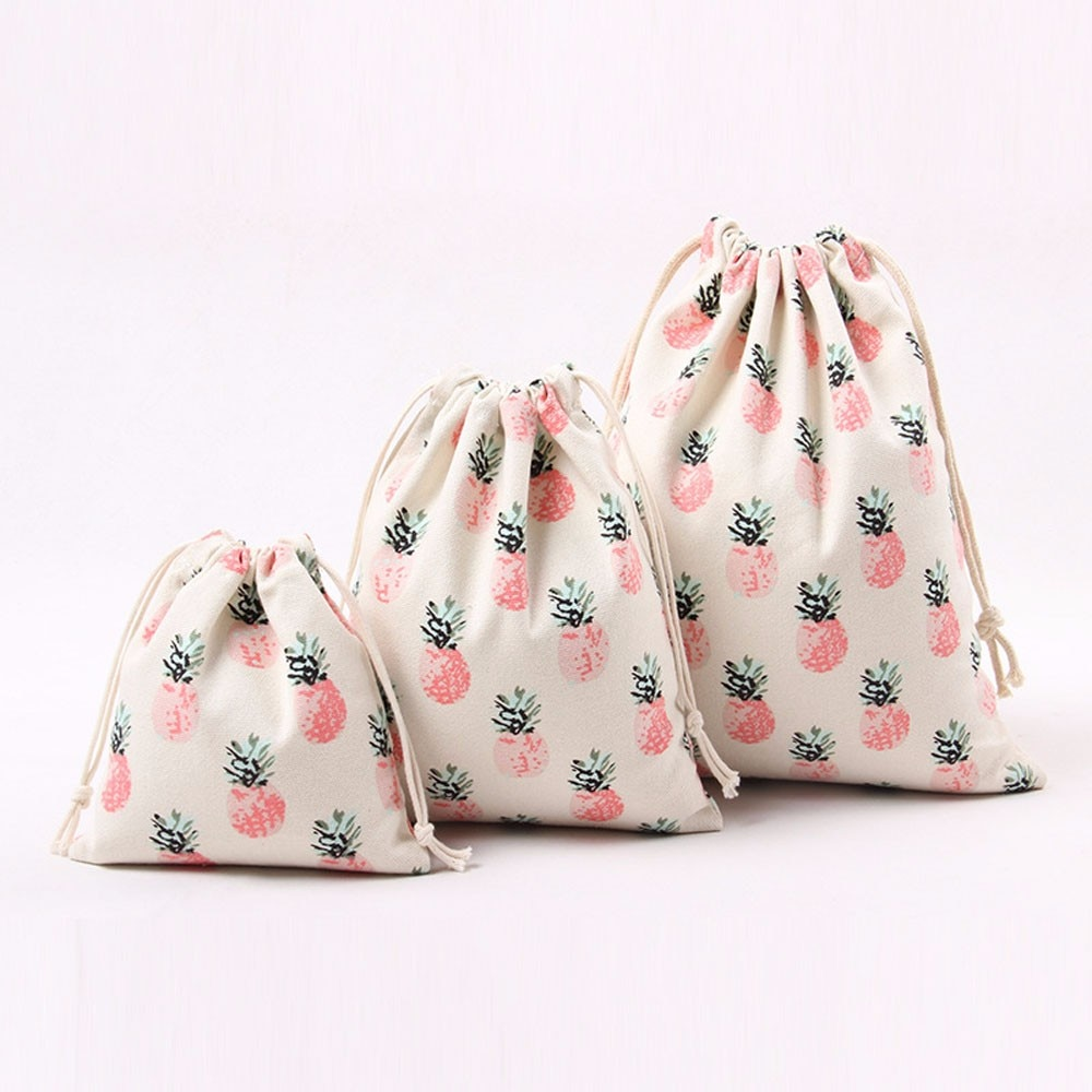 Bolsa de lona de algodón personalizada, bolsa de regalo con cordón, bolsas, estampado de piñas, bolsas de regalo de dulces de amor para niños, bolsita Unisex Cluch B20