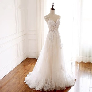 A-line See Through Tulle Lace Beading Elegant Simple Wedding Dresses Real Picture Vestido De Noiva Custom Made RP25