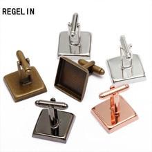 REGELIN 10pcs/lot Square Cufflink Settings Spacer Blank Base Bezel Trays Cobochon Cameo Cufflinks DIY Jewelry Making Cufflink