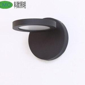 Led modern wall lamp fashion personality special shaped balcony black /white wall lamp 360 degree rotating led wall scone Lamp