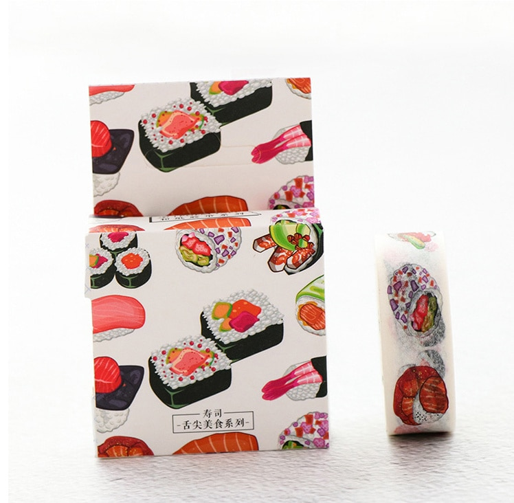 Cinta adhesiva washi para postres y alimentos de 1,5 cm, cinta adhesiva para decoración DIY, cinta adhesiva para álbum de recortes, material escolar y de oficina