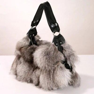 NEW Women's handbags 2018 winter new ladies handbags real fox fur chain bag shoulder slant diagonal large size ladies bag gift