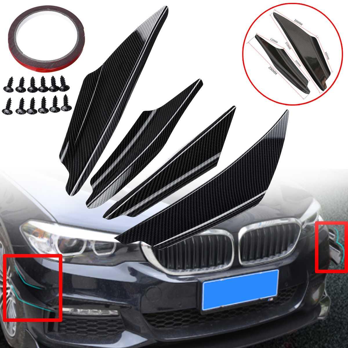 4 шт. углеродного волокна Посмотрите Универсальный Автомобильный передний бампер для губ светоделители в виде пластин тела навесы диффузор спойлер для Benz для BMW Audi