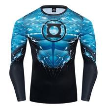 Lanterne verte manches longues Avengers haute qualité 3D imprimé Anime t-shirts hommes Fitness t-shirt Compression chemise Cosplay Costume