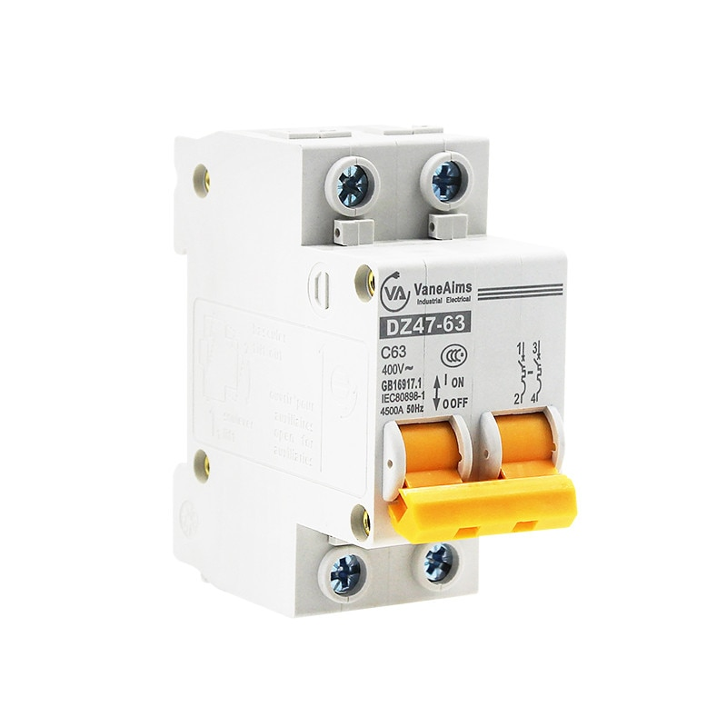 Mini disyuntor MCB recorte interruptor DZ47-63 2P AC 400V 10A 16A 20A 25A 32A 40A 50A 63A