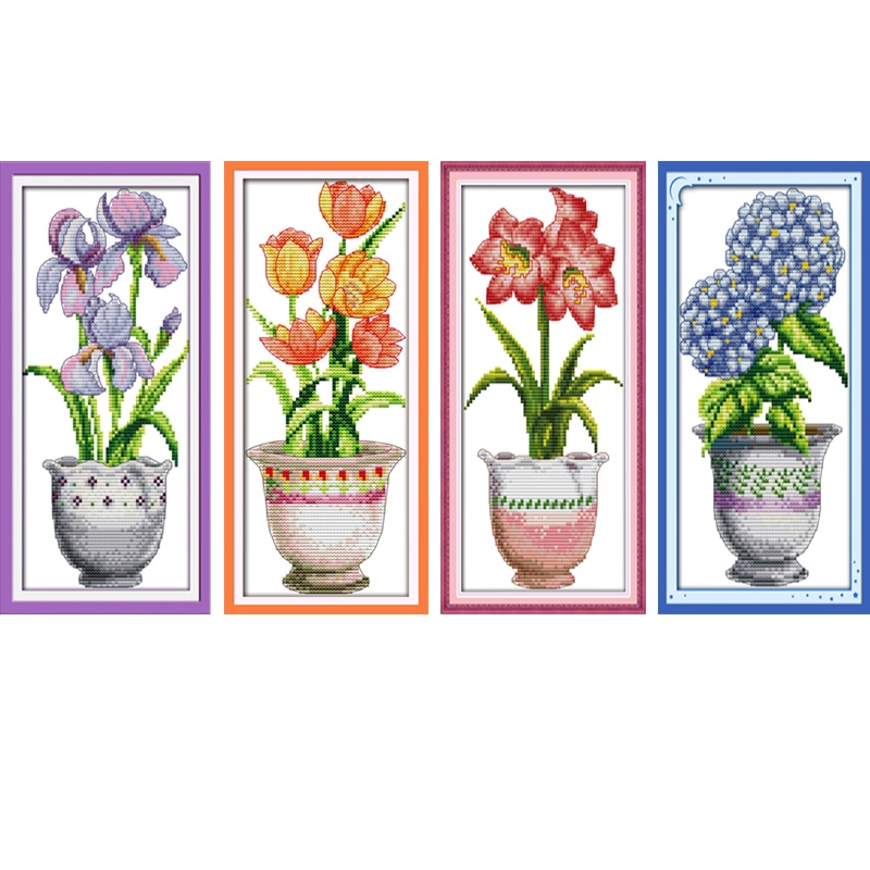 Pintura diamante vaso de lírio Needlework DIY Conjuntos de ponto Cruz Para kits de Bordados de Flores Roxas e Amarelas Mosaic Home Decor Presente