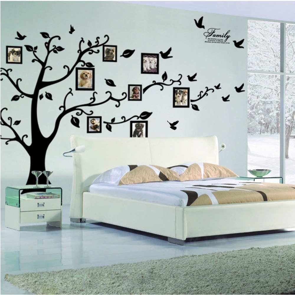 Free Shipping:Large 200*250Cm/79*99in Black 3D DIY Photo Tree PVC Wall Decals/Adhesive Family Wall Stickers Mural Art Home Decor broken wall 3d tree design home decor wall stickers