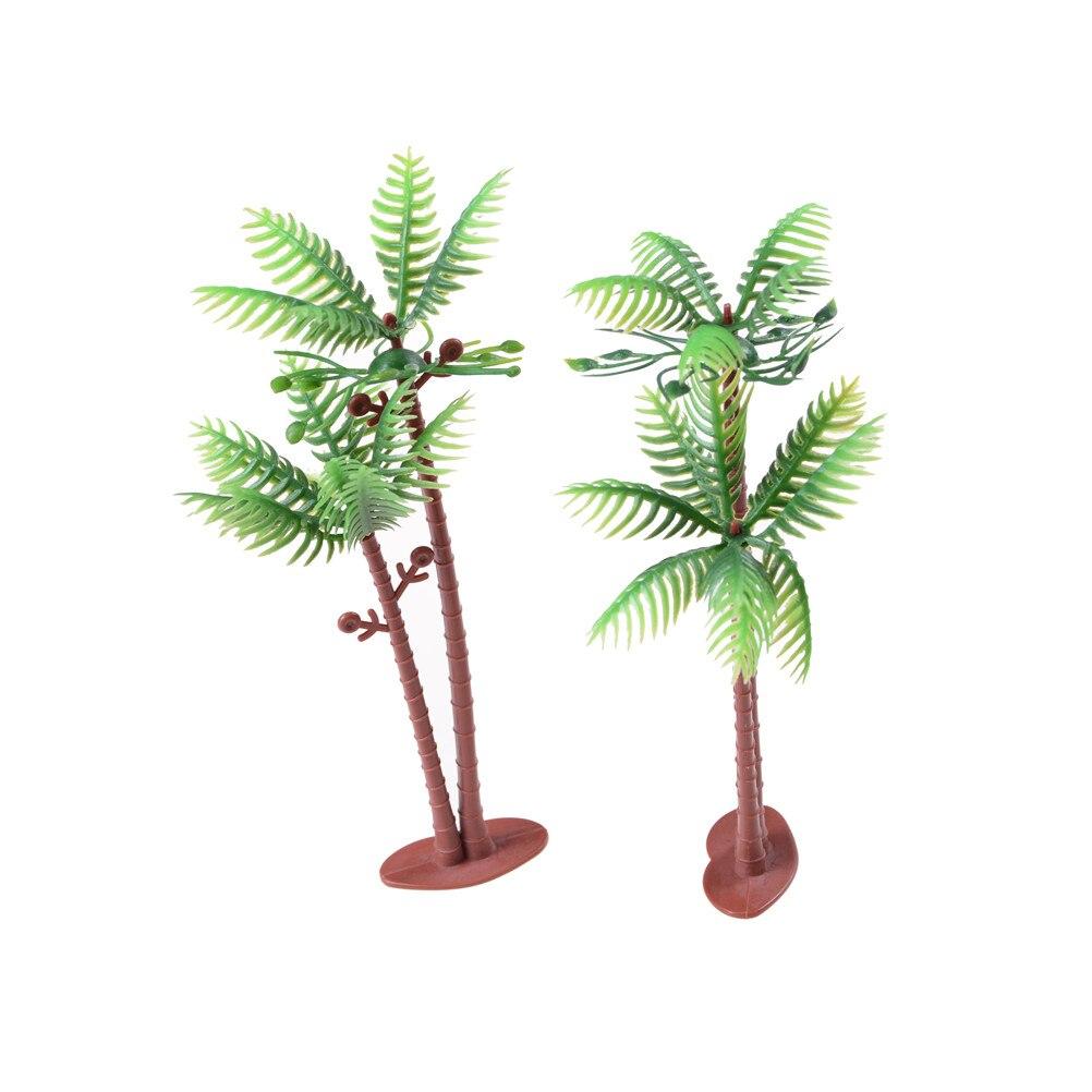 2 pces para qualquer jardim em miniatura, dollhouse ou shadowbox cena coconut tree modelo de parque ferroviário layout cenário dollhouse decoração