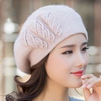 beret women winter hat knit beanie angora warm rhinestone double layer casual soft classic thermal snow outdoor accessory