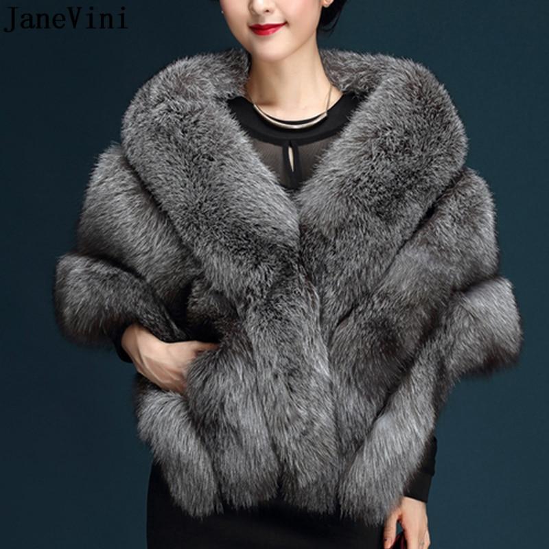 JaneVini alta calidad gris oscuro nupcial Faux Fur Shawls boda Bolero abrigos chaquetas novias invierno capa boda envoltura de noche