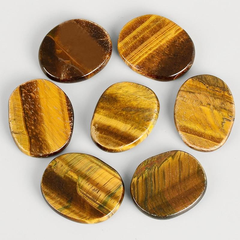 Piedra de Palma de 45mm piedra preciosa Ojo de Tigre Natural curación de cuarzo cristal terapia artesanía letras Reiki Chakra tratamiento piedras minerales