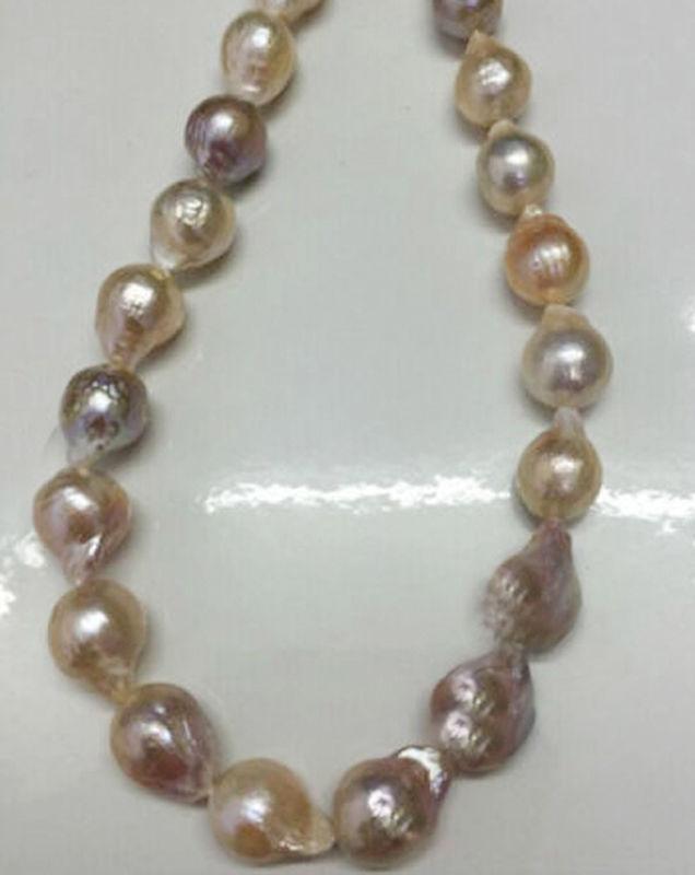 "Rare 12-15mm Natural South Sea Baroque Lavender Akoya Pearl Necklace 18"""