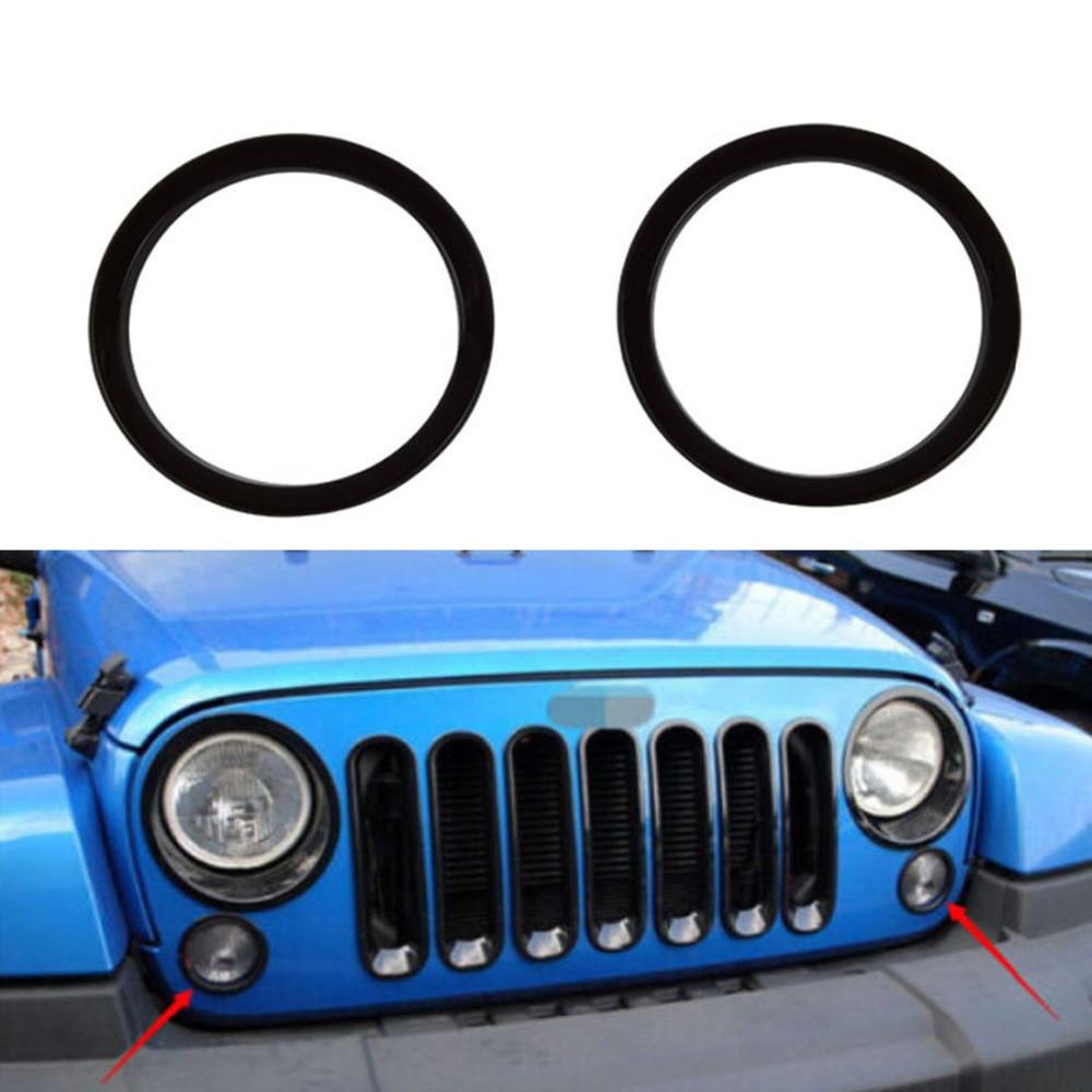 Chuang Qian 1 Set/Pair ABS malzeme ön dönüş sinyali kapak Trim için Jeep Wrangler JK yıl 2007-2018 (Siyah)