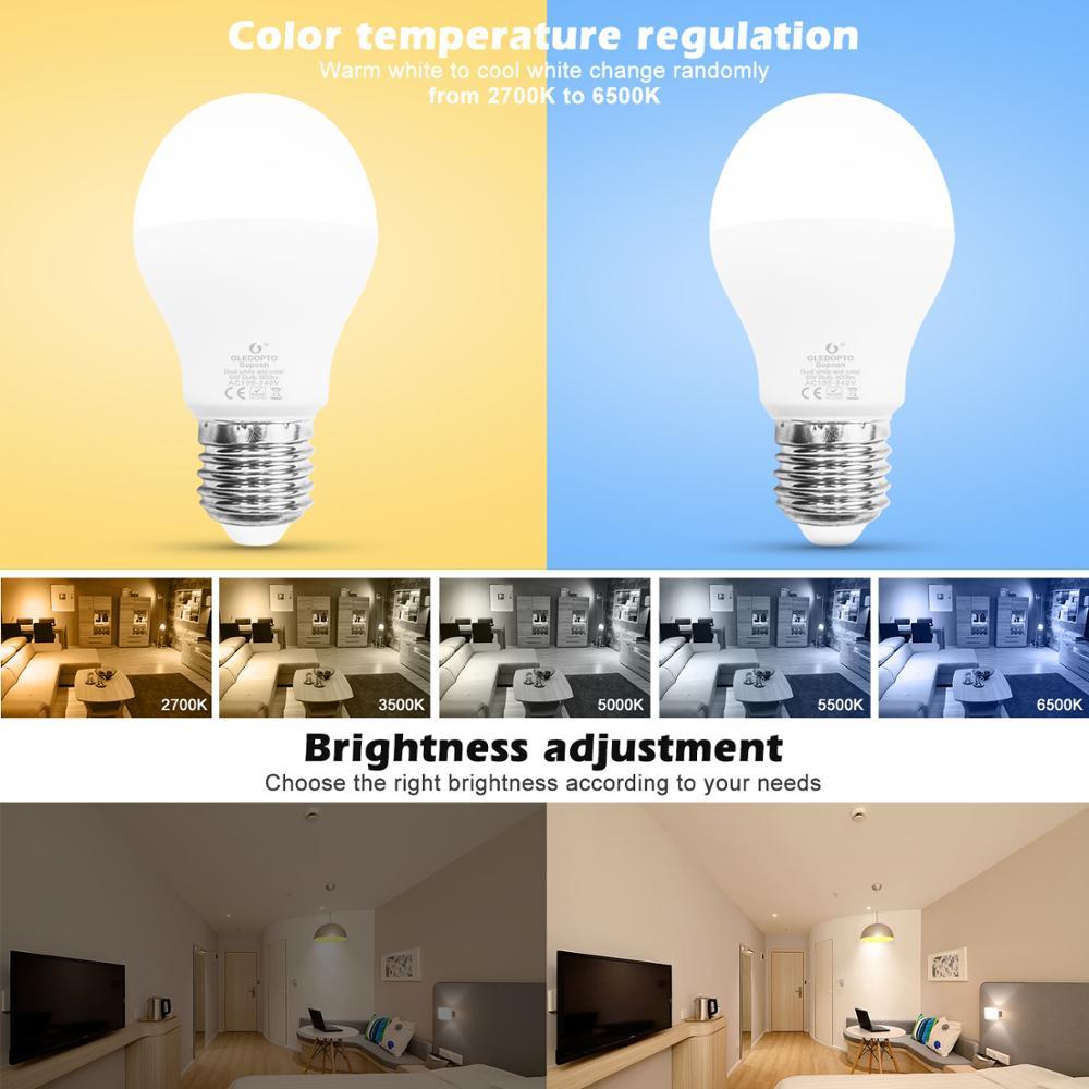 GLEDOPTO 4PCS Zigbee Bulb 6W RGBCCT Colors Light for Room AC100V to 240V LED Light Hub APP/Alexa Voice Control Lamp Bulb enlarge