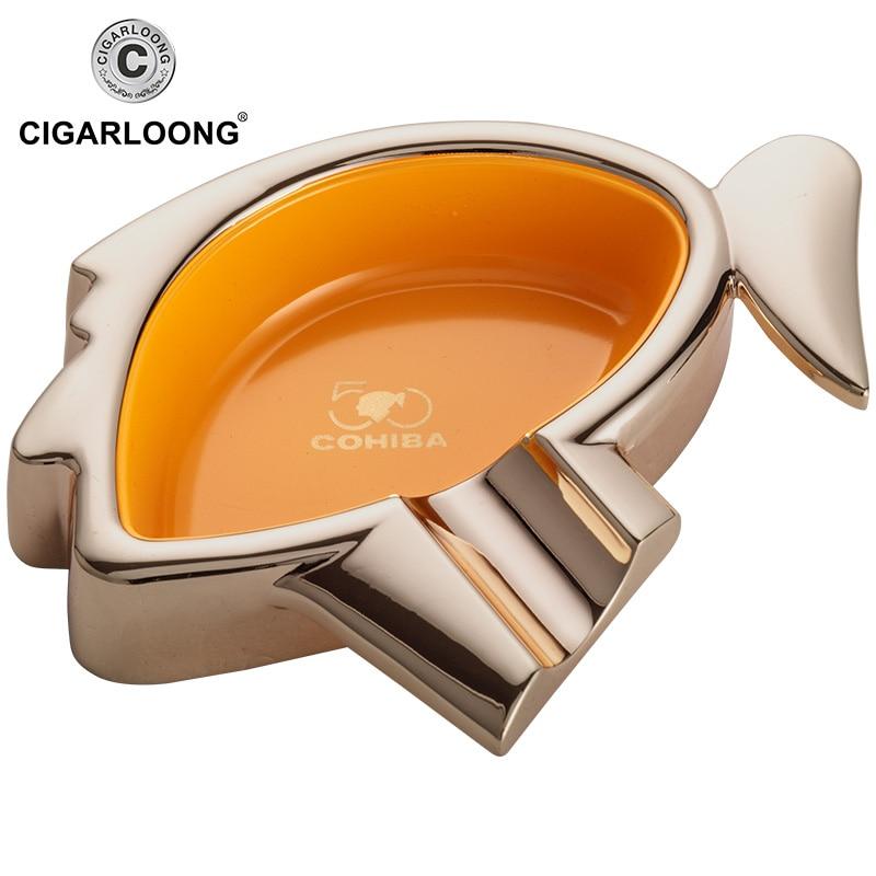 CIGARLOONG Cigar Ashtray Sets Large capacity ashtray with portable cigar cutter and cigar lighter Gift Package CQ-01 enlarge