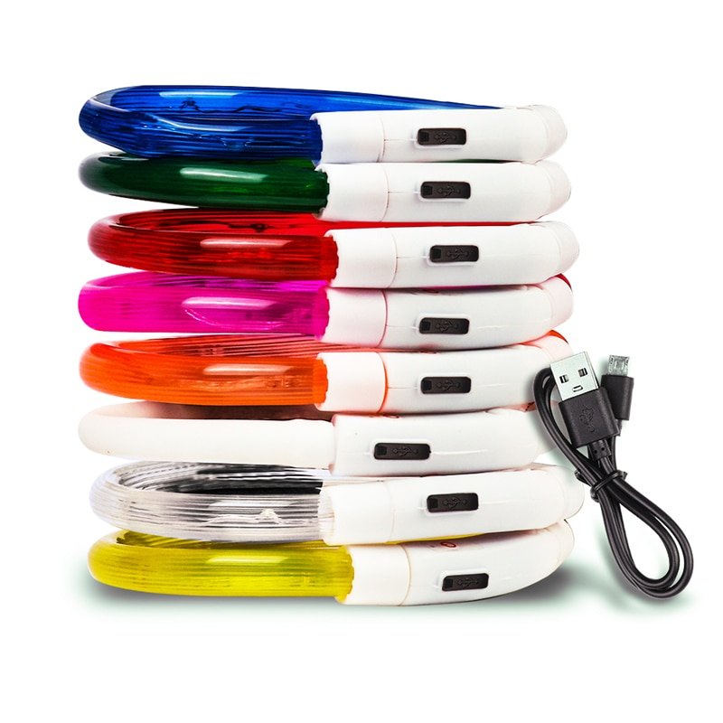 3 Styles USB Charging Adjustable Pet Dog Collar LED Rechargeable Night Flashing Luminous Plastic PVC Solid Neck Cat Collars