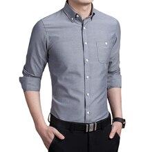 Manches longues hommes chemise asie taille S-5XL couleur Pure hommes chemises 7 couleurs choix chemise hommes Oxford tissus