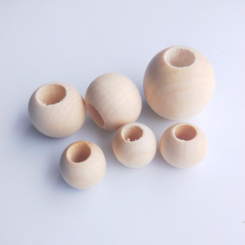 Cuentas de madera redondas planas de gran agujero de 12-30mm, cuentas espaciadoras ecológicas de Color Natural, accesorios de producción de joyas artesanales DIY