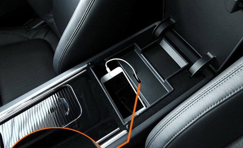 Coches con el volante a la izquierda consola negra Centro caja de almacenamiento soporte de teléfono para Jaguar XF X260 2016