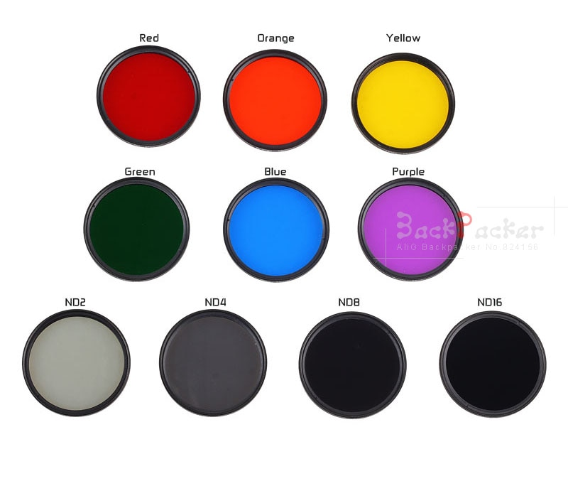 Filtro de lente de cámara 40,5 43 46 49 52 55 58 62 67 72 77 82mm rojo amarillo, naranja verde azul púrpura ND2 ND4 ND8 ND16 ND32