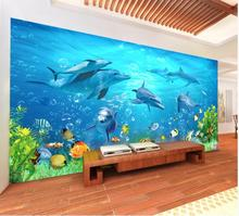 Papier peint photo 3d pour mur 3 d   Papier peint personnalisé, salle des enfants, dauphin du monde de la mer, récif de corail, poissons, salon