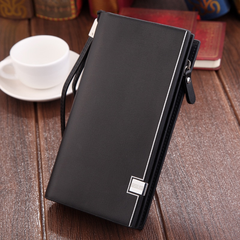 Original luxury Brand men's wallet business striped clutch leather purse for male fashion man card h