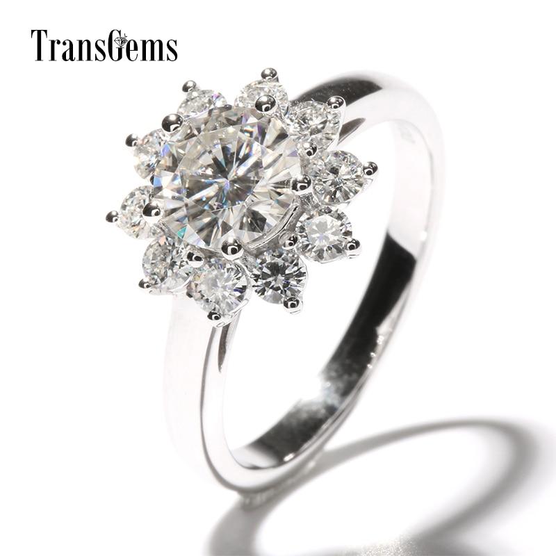 TransGems 2 CTW Carat laboratorio cultivado con diamantes de imitación en forma de flor anillo de compromiso Halo oro blanco sólido de 14k para mujeres