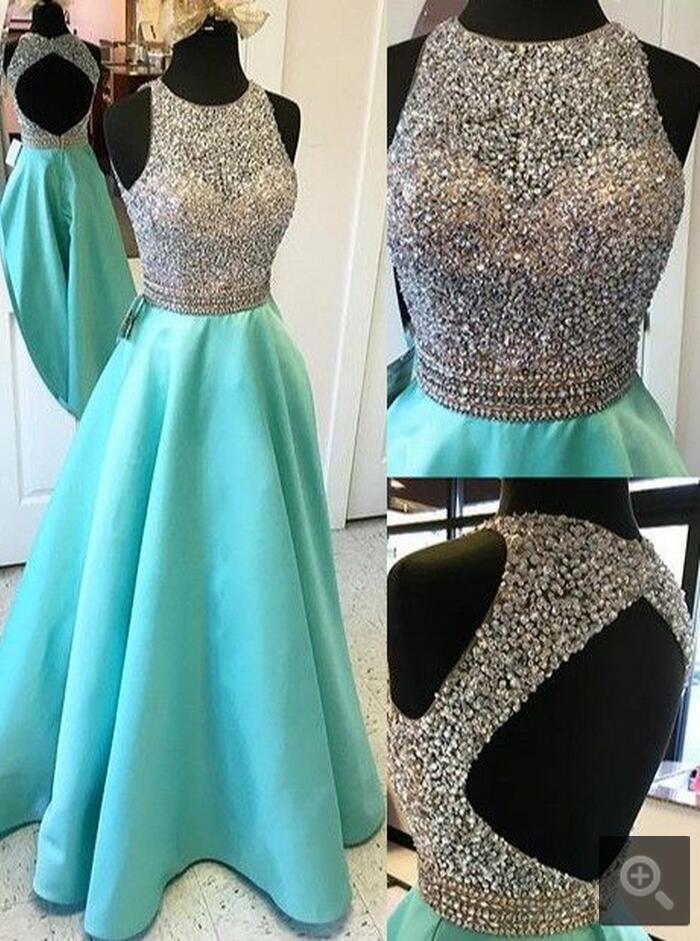 2017 Sexy espalda abierta turquesa foto real vestidos de graduación largo muy decorado con cuentas corpiño chicas vestidos fiesta graduación de satén envío gratis