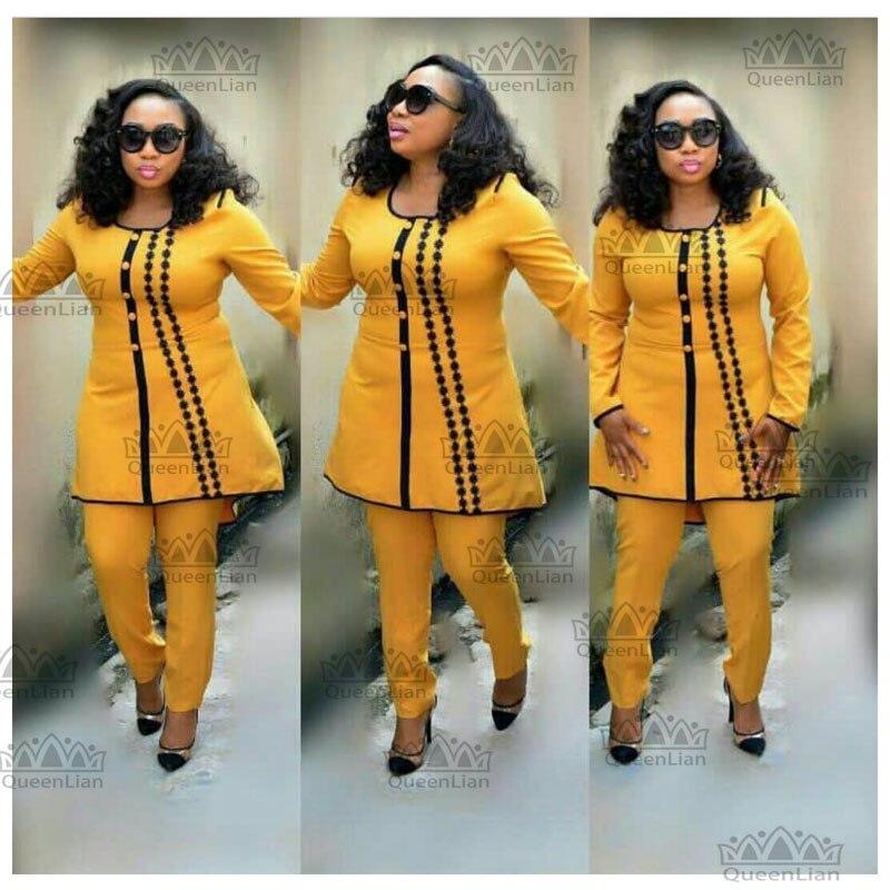 بدلة Dashiki الأفريقية للنساء ، ملابس كبيرة ومرنة ، أكمام طويلة ، بازان مطرز جميل للخريف TZ03 #
