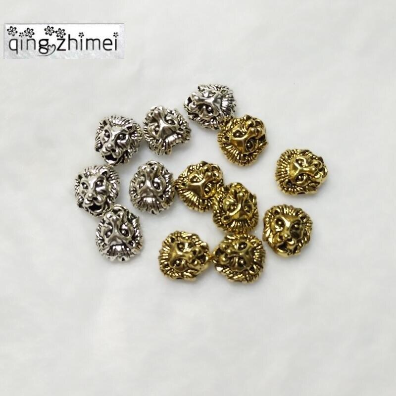 100 pçs/lote Metal Encantos para a Jóia DIY Fazendo Antigo Lasca Banhado A Ouro-cor Tibetano Cabeça de Leão Leoa Contas Espaçador Talão