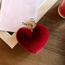 Cute Fluffy Pompom Car Keychain For Women Imitation Rabbit Fur Pom Poms Ball Heart Shape Pendant Keyring Holder Charm Bag Gifts