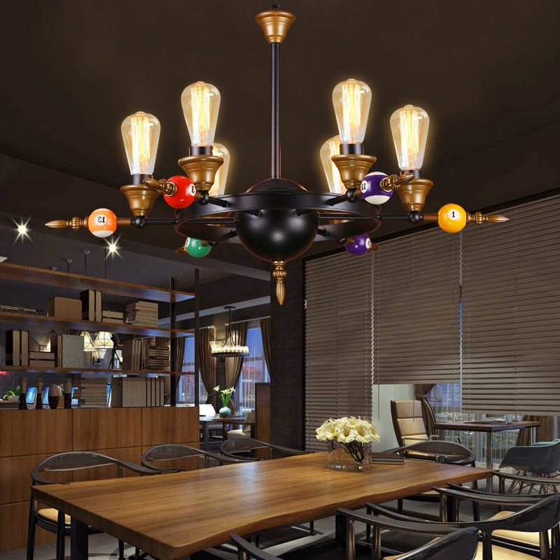 Nordic vento industrial retro rodada de ferro Luz Pingente personalizado criativo bilhar restaurantes clubes lâmpada Pingente moderno ZA