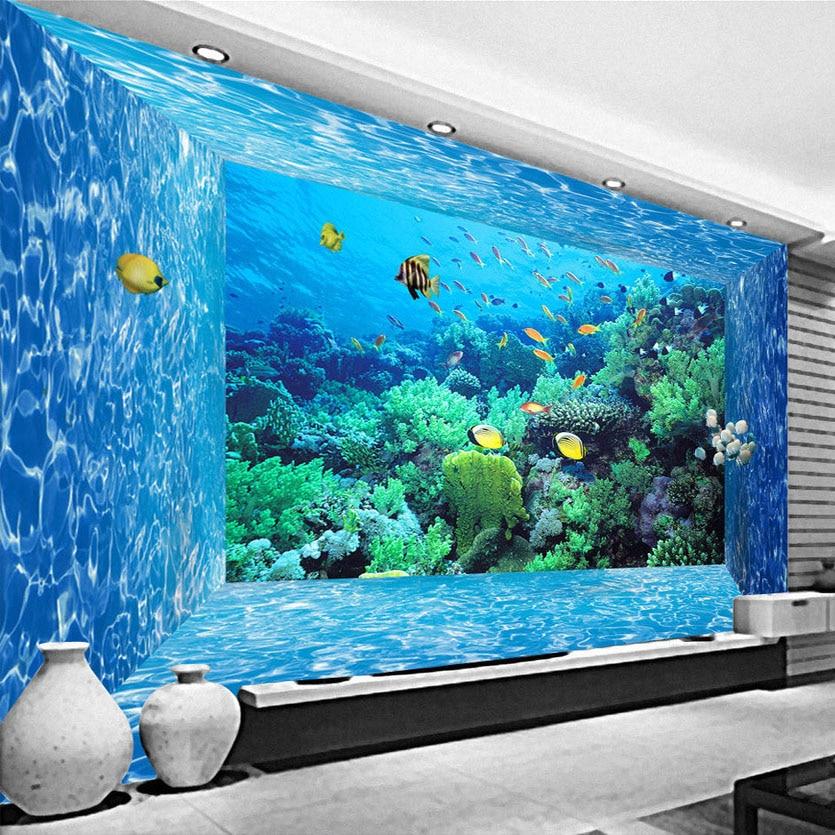 Mural de papel pintado con foto 3D personalizado 3D espacio estereoscópico mundo submarino sala de estar dormitorio TV Fondo papel de pared 3D