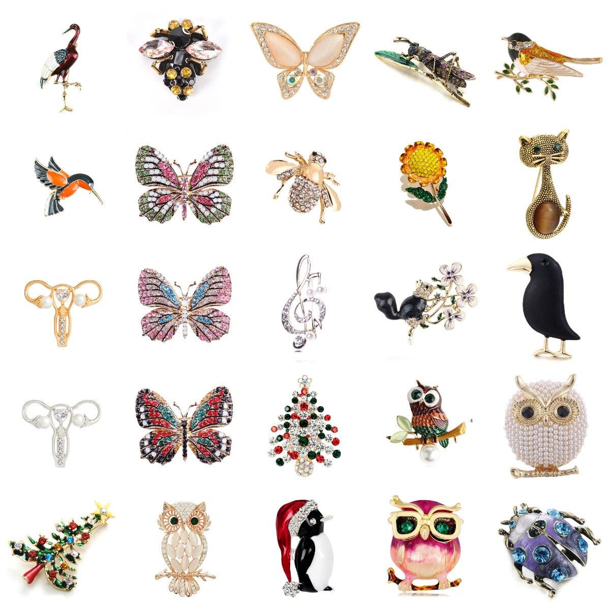 Lindos pájaros loros Pin broches para mujer esmalte Pin cristal Animal bebé pájaro broche Pin Navidad joyería moda hecha a mano