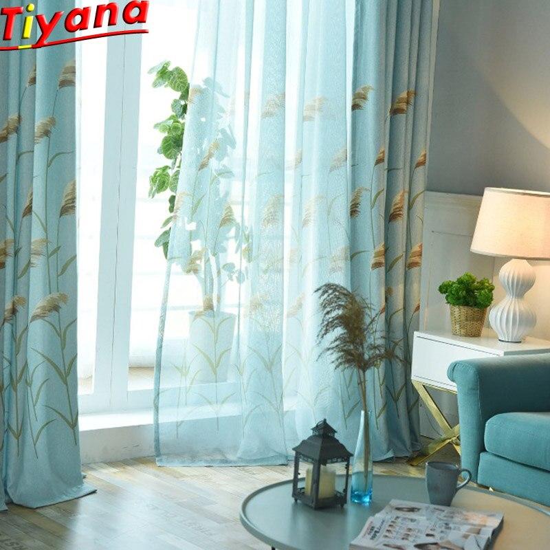 Cortina azul a la moda con diseño de planta, Panel púrpura, cortina de ventana para sala de estar, persiana de dormitorio, cortina de lujo, tul, W-HM377B * 30