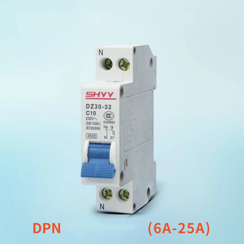 Disjuntor de tamanho pequeno dz30 (dpn)-32 1 p + n 6a 10a 16a 20a 25a 32a fábrica mini