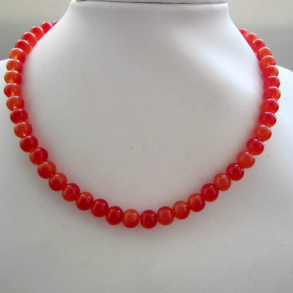 925 artesanal adorável grânulo miss charme jew20378 fino chinês romã pedra vermelha forma redonda grânulo colar 8mm 5pc