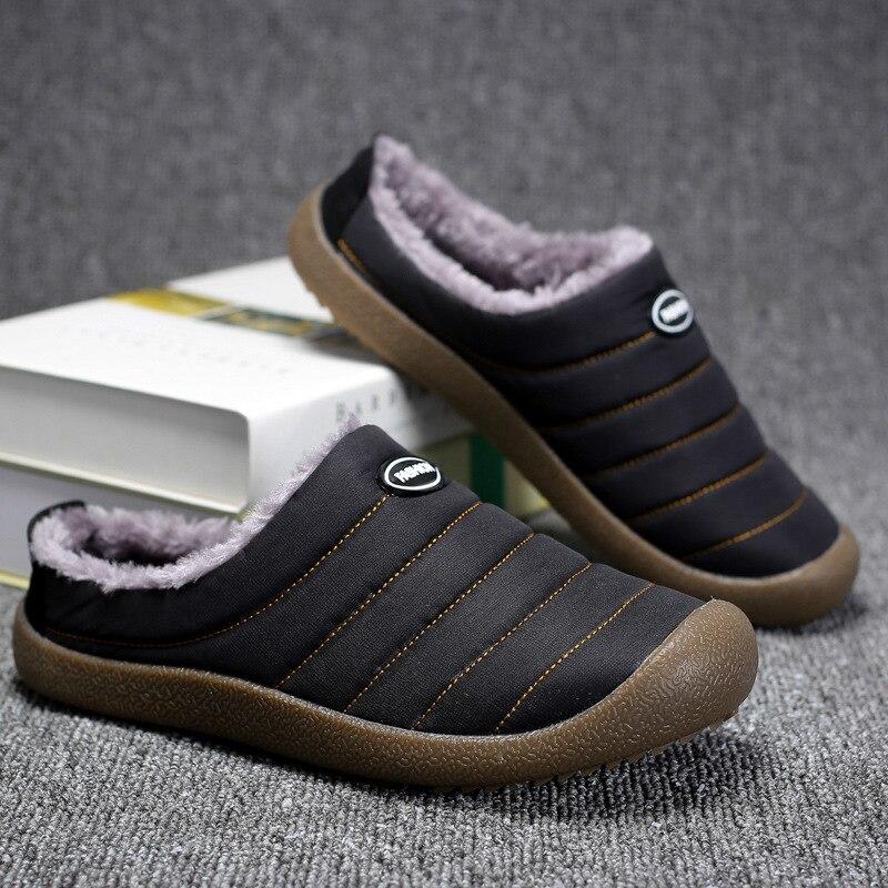 2018 homens de inverno em casa chinelos para o homem quente sapatos de pelúcia novos tênis casuais piso macio listrado masculino sapatos de algodão interior não-deslizamento